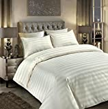 Sunshine Comforts® 100% Egyptian Cotton 500 Thread Count Satin Stripe Beautiful Duvet Cover Sets All Sizes (King, Striped Cream)