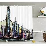 yeuss Moderner Duschvorhang-Stil, asiatische Hongkong Stadt Gebäude, hoch, Wolkenkratzer Stadt-Wandaufkleber, Stoff Badezimmer Set mit Haken, Multicolor, 60