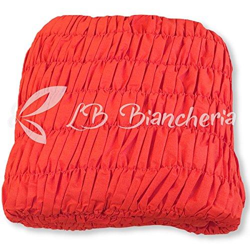 Copridivano universale arricciato - 5 posti - divano angolare - tinta unita melange rosso