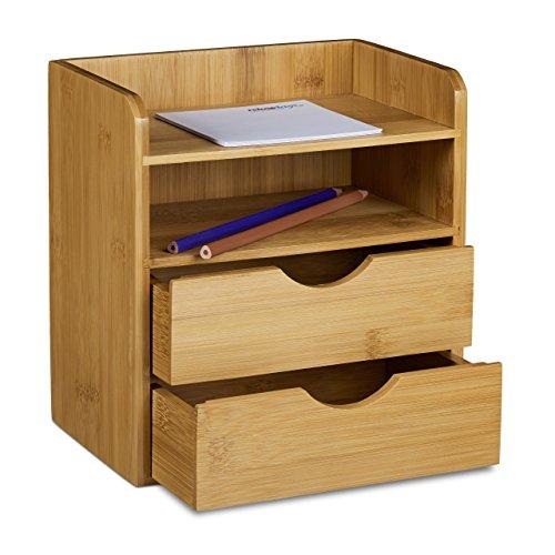 Relaxdays Schreibtisch-Organizer aus Bambus