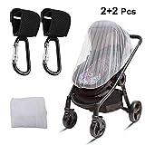 Großes Moskitonetz und Anti-Entkopplungs-Haken für Kinderwagen (2 Stück weißes Baby-Moskitonetz + 2 Stück Schwarze Haken)