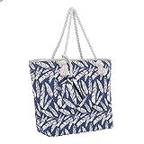 Große Strandtasche mit Reißverschluss 58 x 38 x 18 cm Federn blau beige Shopper Schultertasche...