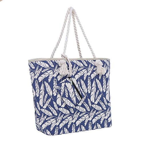 Große Strandtasche mit Reißverschluss 58 x 38 x 18 cm Federn blau beige Shopper Schultertasche Beach Style