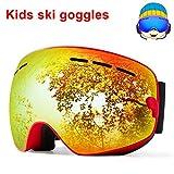 TUONROAD Occhiali da Sci Bambino Orange Snowmobile Snowboard Doppia Lente sferica Protezione Uv400 Anti-UV Anti-Fog Occhiali da Pattinaggio per Adolescenti Ragazzi (4-15 Anni)