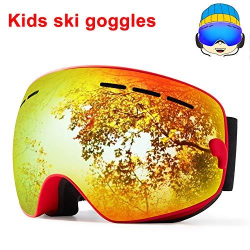 TUONROAD Skibrille Kinder Snowboardbrillen Anti Nebel Windwiderstand SphäRische Doppelte Linse Double SphäRische Linse Ski Snowboardbrillen Goggles FüR MäDchen Jugendliche -
