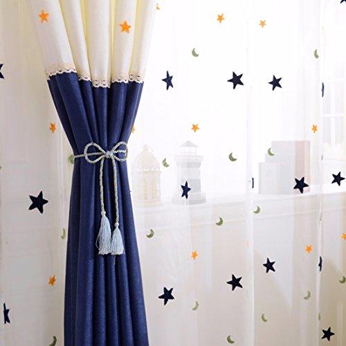 Qpggp tende tenda semplice del tessuto della tenda camera da letto della finestra del pavimento semi-blackout tende, b-200 x 270 cm (l x h) × 2
