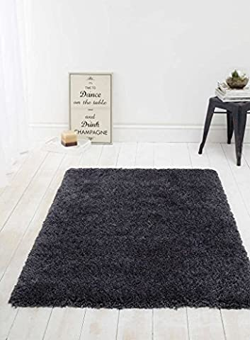 Luxury Charcoal Black Fluffy Shaggy Rug - Perfect for Living Rooms and Bedrooms - 160cm x 230cm