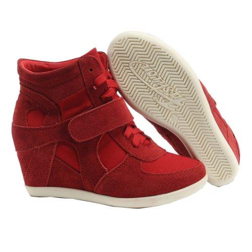 Shenn Donna In cima Cuneo Lavoro Informale Lacci Fibbia Sneaker Scarpe Rosso
