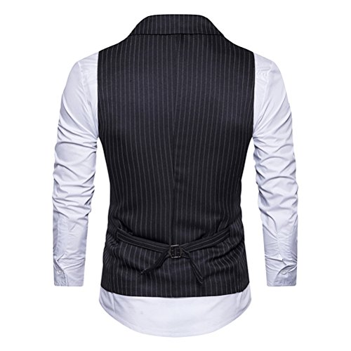 Zhhlaixing Mens adolescenti V-neck Double Breasted Sleeveless Stripe Formal Suit Blazer Waistcoat Panciotto Outwear Thanksgiving Christmas Gifts White