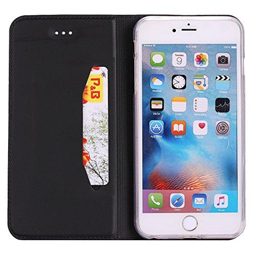 Custodia Cover per iPhone 6/6S 4.7,Ukayfe Luxury Ultra Slim PU pelle Protettiva Flip Portafoglio Cover Case Copertura Custodia con Super Sottile TPU Interno Case con Chiusura Magnetica per iPhone 6/6S Nero