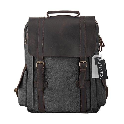 Imagen de  vintage de lona zainotelavintage p.ku.vdsl®  tipo casual y cuero bolso casual para viajes bolsa de escuela unisex adecuada para 15' cuaderno c gris oscuro  alternativa