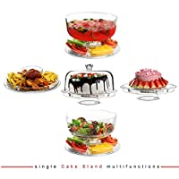 Modern 6 IN 1 Design Multifunctional Cake Stand & Dome Plastic Cover Multi Purpose Salad Bowl | Quality Products by Denny International®