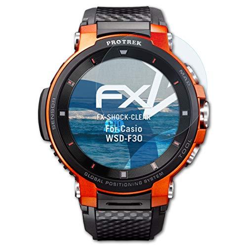 atFoliX Schutzfolie kompatibel mit Casio WSD-F30 Panzerfolie, ultraklare & stoßdämpfende FX Folie (3X)