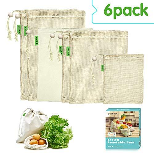 E-Know Gemüsebeutel,6er Gemüsenetz, Natural Baumwolle,Einfach zu Reinigen, Plastikfrei Einkaufen,Zero-Waste(1 kleine, 2 mittlere, 2 große,1 Aufbewahrungstasche)-MEHRWEG -