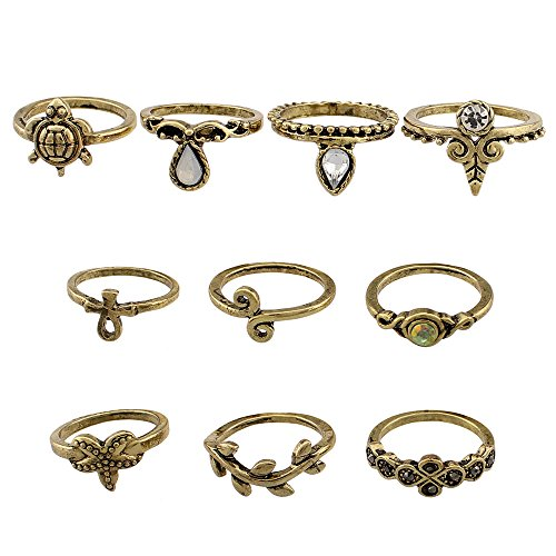 Union Tesco 10Pcs Orientalisches Vintage Midi Ring Midiringe Set,Vintage Fashion Frauen Midi Ring Nagel Finger Band (Gold) - Antik-ring-set