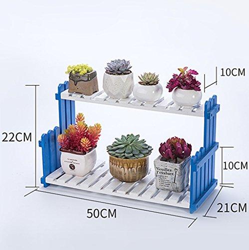 MMM& Porte-fleurs en bois massif Salle de séjour Balcon Atterrissage Porte-pot à fleurs multicouches Étagères intérieures simples ( Couleur : Bleu et blanc , taille : 50 cm )