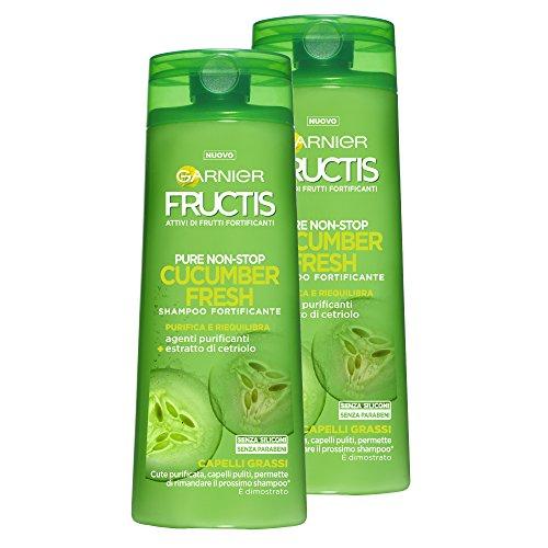 Garnier Fructis Shampoo Capelli Grassi Cucumber Fresh con Estratto di Cetriolo, senza Siliconi e senza Parabeni - Confezione da 2 Unità