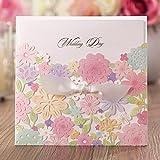 VStoy Laser Cut invitaciones de boda kits de tarjetas multi Flower para el matrimonio de compromiso novia ducha con lazo de lazo sobre y sellado boda favorece cartulina 20piezas