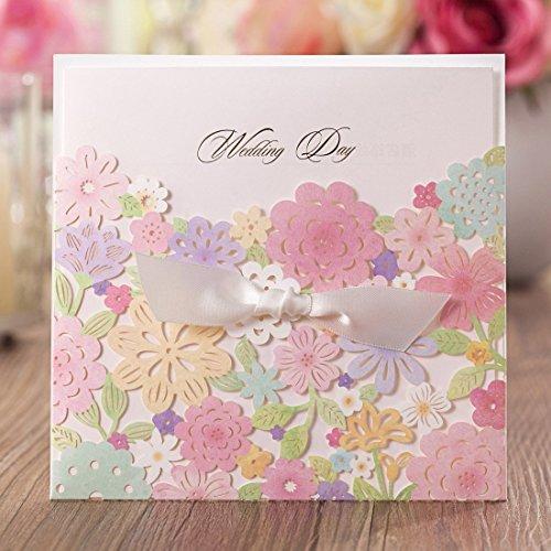 vstoy Laser geschnitten Hochzeit Einladungen Karten Kits Multi Flower für Ehe Verlobungsring Bridal Dusche mit Schleife Band Umschlag und Dichtung Hochzeit Karte Gastgeschenken Lager 20Stück (Hochzeit Einladung-kit Braut)