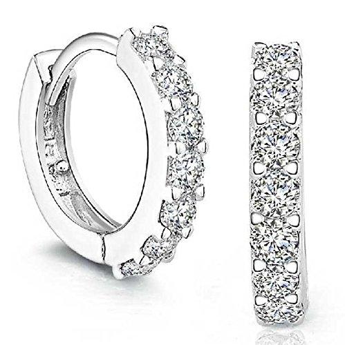 iCerber® Schmuck,Sterling Silber Strass Hoop Diamond Ohrstecker für Frauen Brautjungfernaccessoires, zarte und Elegante Ohrringe