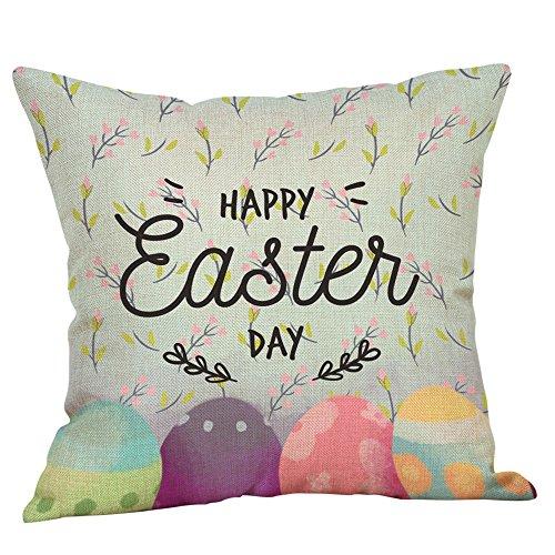 JMETRIC_Kissenbezug Partydekoration Festlicher Kükenmuster Geschenk Kopfkissenbezug Ostern Leinen Atmungsaktiv Kaninchen (C)
