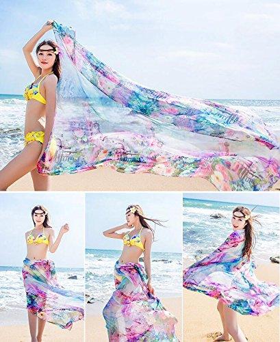 UK_Stone Damen Übergroesse Modisch Kariert Blumen Pattern Sarong Pareo Strandtuch Wickeltuch Bikini Sonnenschutz Decke Cover-up Rose Lila