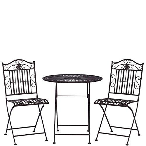 BUTLERS TERRACE HILL Balkonset, 3-tlg - 1 Tisch, 2 Stühle - Eisen, galvanisiert - klappbar - Retro-Stil - Ø 70 cm / 41 x 51 x 91