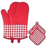 Esonmus Guanti per forno al silicone resistenti al calore di Guanti antiscivolo per forno + 2 imbottiture in cotone per cucina Cottura Barbecue per grigliate - Plaid rosso