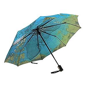 baiyou mapa del mundo paraguas automático plegable reforzada resistente al viento uv-coating 3Fold