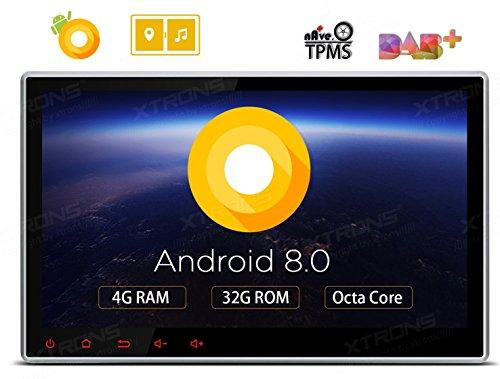 creen Double Din Autoradio DVD Player mit Android 8.0 Octa-Core unterstützt 3G 4G Bluetooth 2DIN 4GB RAM 32GB ROM DAB & OBD2 TPMS Funktion ()