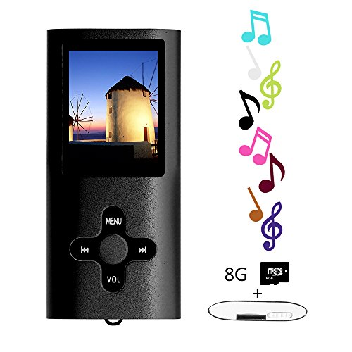 Btopllc MP3 / MP4 Player MP3 8GB Card Reader Hi-Fi Music Player Portable 1.7 inch LCD MP3 / MP4 Player Media Player with Mini USB Port USB Cable / MP3 Music Player Voice Recorder Media Player - Black