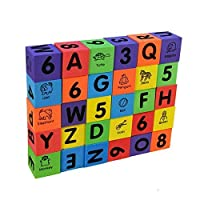 30 Pieces Alphabet Letters and Numbers Baby Toddlers Foam Blocks, for Ages 3 & Up...