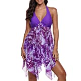 Costume da Bagno Donna Vita Alta Estate Tankini Costumi da Bagno Donna Taglie Forti Due Pezzi Bikini Donna Mare Push up Vita Alta Bordo Asimmetrico Halter Swimdress e Panty Beachwear (Purple, L)