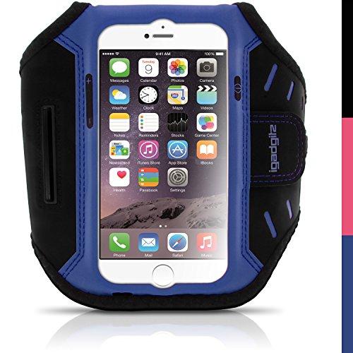 igadgitz Blau Wasserabweisend Leichtes Neopren Sports Jogging Armband Laufen Fitness Oberarmtasche für Apple iPhone 6 & 6S 4.7 Zoll mit Schlüsselfach