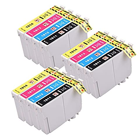 PerfectPrint Compatible Encre Cartouche Remplacement Pour Epson XP-102 XP-202 XP-205 XP-212 XP-215 XP-225 XP-30 XP-302 XP-305 XP-312 XP-315 XP-322 XP-325 XP-402 18XL (Noir/Cyan/Magenta/Jaune, 12-Pack)