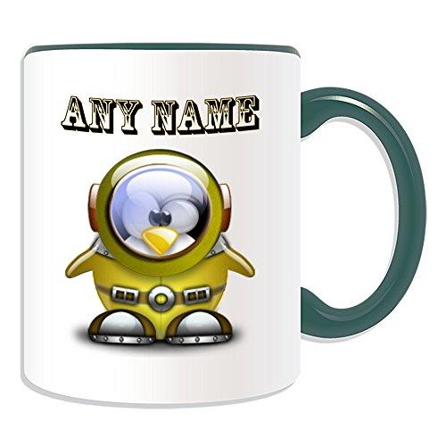 (Uni-gift Personalisiertes Geschenk–Astronaut Tasse (Pinguin in Kostüm Design Thema, Farbe Optionen)–alle Nachricht/Name auf Ihre einzigartige–Platz, keramik, grün)