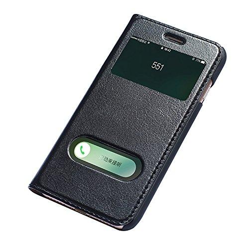 iPhone 7 Etui,EVERGREENBUYING - Coque Portefeuille Cuir avec stand IPHONE7 Premium Etui de Protection [avec fenêtre et fonction de support] Case Cover pour iPhone 7 4.7 inch Noir Noir
