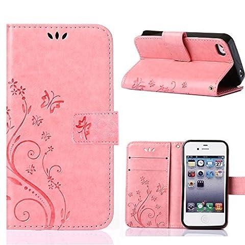 MOONCASE iPhone 4S Bookstyle Étui Fleur Housse en Cuir Case à rabat pour iPhone 4 / 4S Coque de protection Portefeuille TPU Case