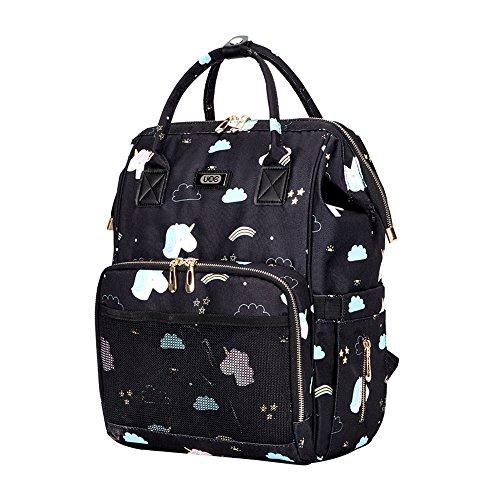 ße Kapazitäts-Mama-Reise-Windel-Tote-Handtasche Krankenpflege-Schulter-Organisator-Beutel mit isolierten Taschen Spaziergänger-Bügel für Baby-Sorgfalt (Schwarz) (Krankenpflege Tote Taschen)