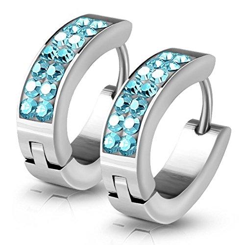 Kristall-Creolen von Bungsa® | Hochwertige Damen-Ohrringe Blau | Edelstahl-Creolen für den perfekten Auftritt | Creolen-Blau