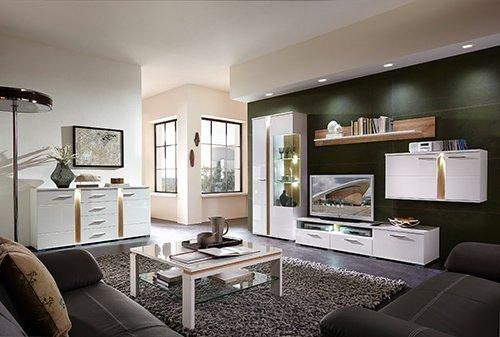 4-tlg. Wohnwand mit Korpus in weiß glänzend, Fronten in weiß Hochglanz und Absetzungen in Sonoma Eiche-hell-Nb., Maße: B/H/T ca. 331/202/54 cm - 3