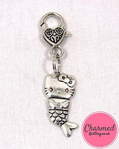 Hello Kitty-Sirena a forma di a uncinetto e a punto croce, colore: argento, large, perfetta idea regalo per coloro che amano