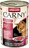 Animonda Carny Adult Katzen-/Nassfutter für erwachsene Katzen Rind und Herz, 6 x 400 g