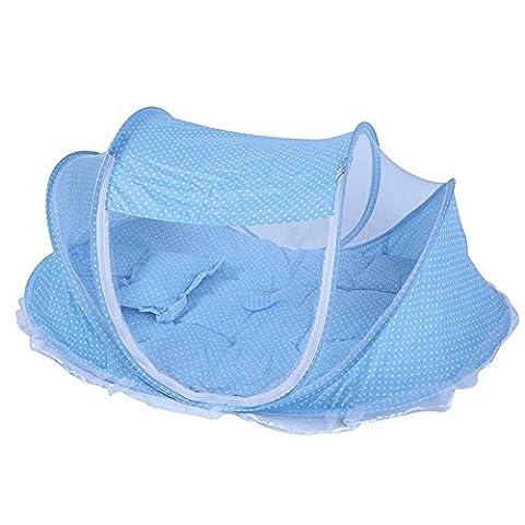3/Set Baby Moskitonetze mit Matratze Kissen, tragbar klappbar Kinderbett Netz Bett, zusammenklappbar Kleinkinder Netz Bett, Neugeborene Kinderzimmer Baby Pop-Up Comfort Betthimmel Moskitonetz Zelt–Blau