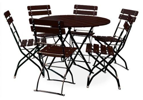 EuroLiving Bière de jardin 1 x table Ø100 cm & 6 x chaise Edition Classic Châtaigne/Noir