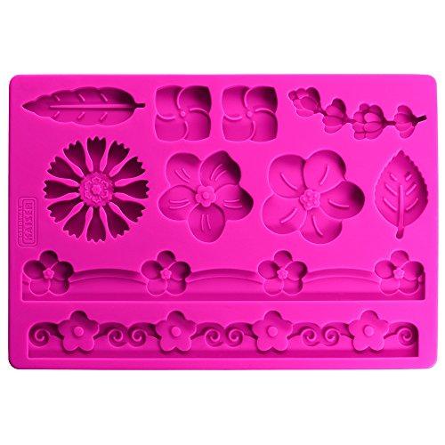 KAISER Silikon Motiv Matte Blume Inspiration Sweet & Style dreidimensionales Kuchendekor 10 auf einander abgestimmte attraktive Blumen Motive hohe Formstabilität