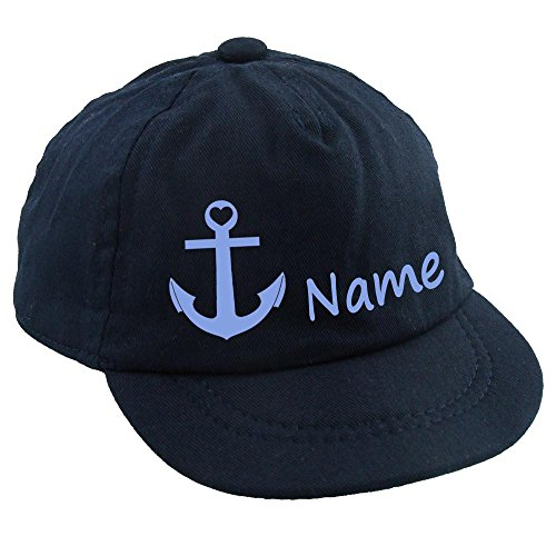 Baby CAP Anker mit Namen oder Text personalisiert dunkelblau 1-2 Jahre