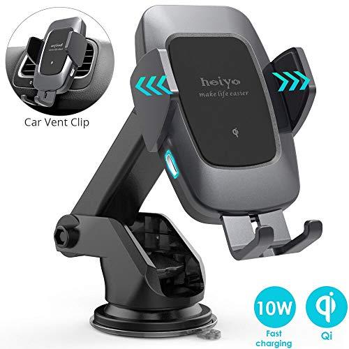 Caricatore Wireless Auto, Qi Rapida Wireless da Auto Vento Supporto Telefono, 10w per Samsung S10/S10+/Nota 9/s9/s9+/s8/s8+/Note 8, 7.5w per iPhone 8/8+/X/XS/XS Max/XR, 5w per Huawei Mate 20 PRO