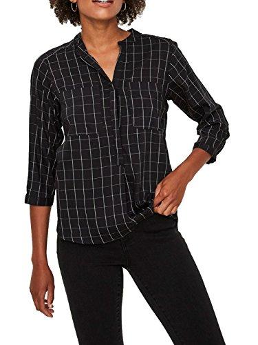 VERO MODA Damen Bluse VMERIKA Checker 3/4 Shirt, Größe:M, Farbe:Black (10204023)
