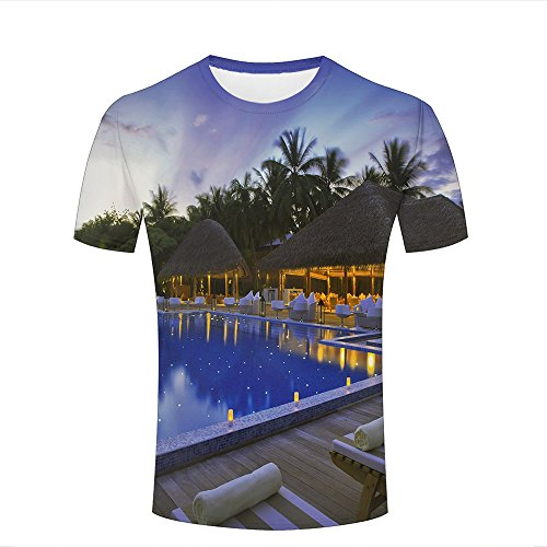 WEIYI BO Homme T-Shirt 3D Digital Pinted Exotic Resort In Night Couple Tees Tops B
